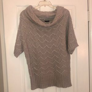 Ann Taylor - gray cowl neck short-sleeve sweater